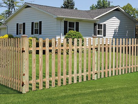 Outdoor Essentials Dog Ear Spaced Picket Fence Wood Fence Gate