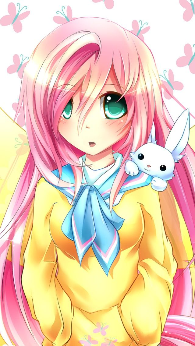 Anime Fluttershy. Angel is there too Arte de anime, My