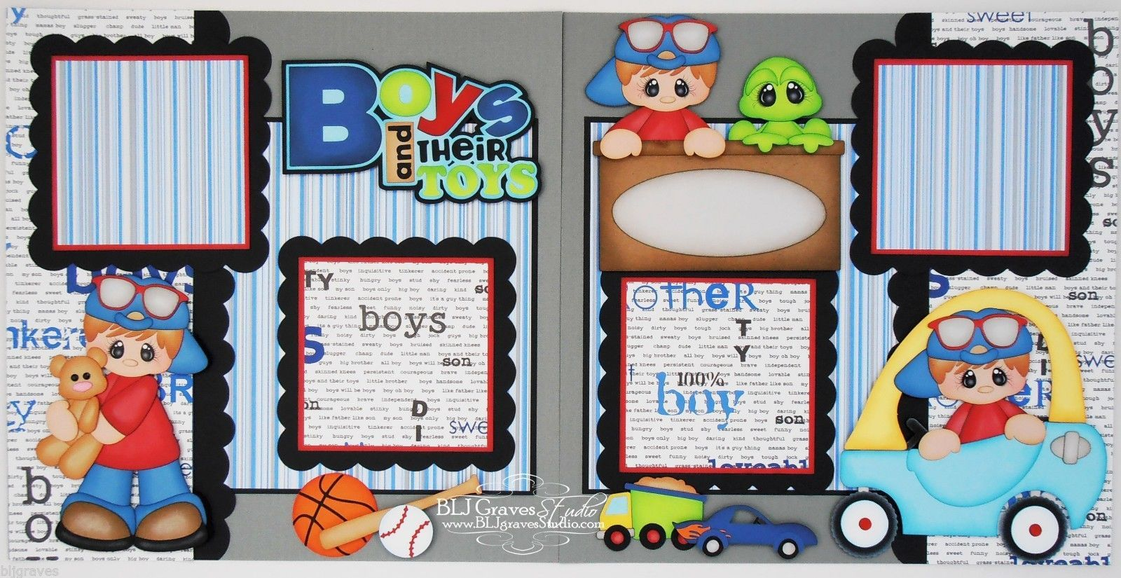 Elite4U Premade Scrapbook Pages Paper Piecing Boy Toys Truck Bear ...