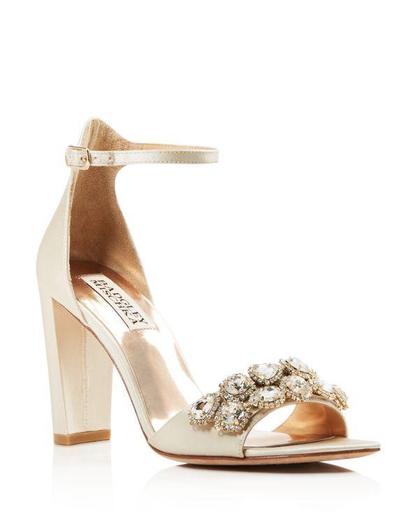 17208ef4f91c Badgley Mischka Lenox Embellished Block Heel Sandals Wedding Shoes Block  Heel