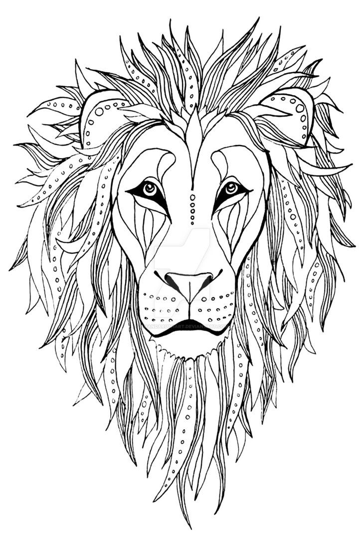 Patterned Lion Ink Drawing Lion Coloring Pages Lion Drawing Animal Coloring Pages