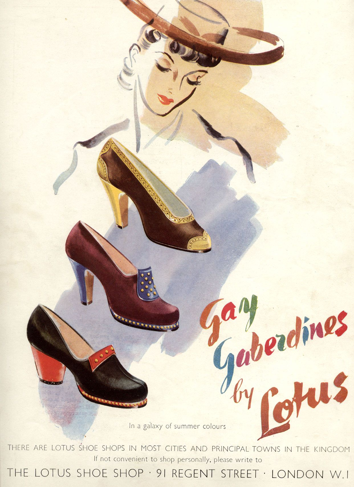 size 40 489ca bfa50 July 1941. Lotus shoes, Gay Gaberdines, wartime shoes WWII ...
