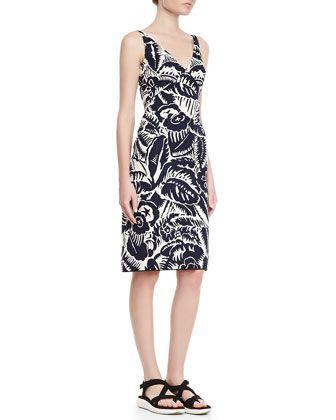 Sleeveless V-Neck Sheath Dress, Navy by Marc Jacobs at Bergdorf Goodman.