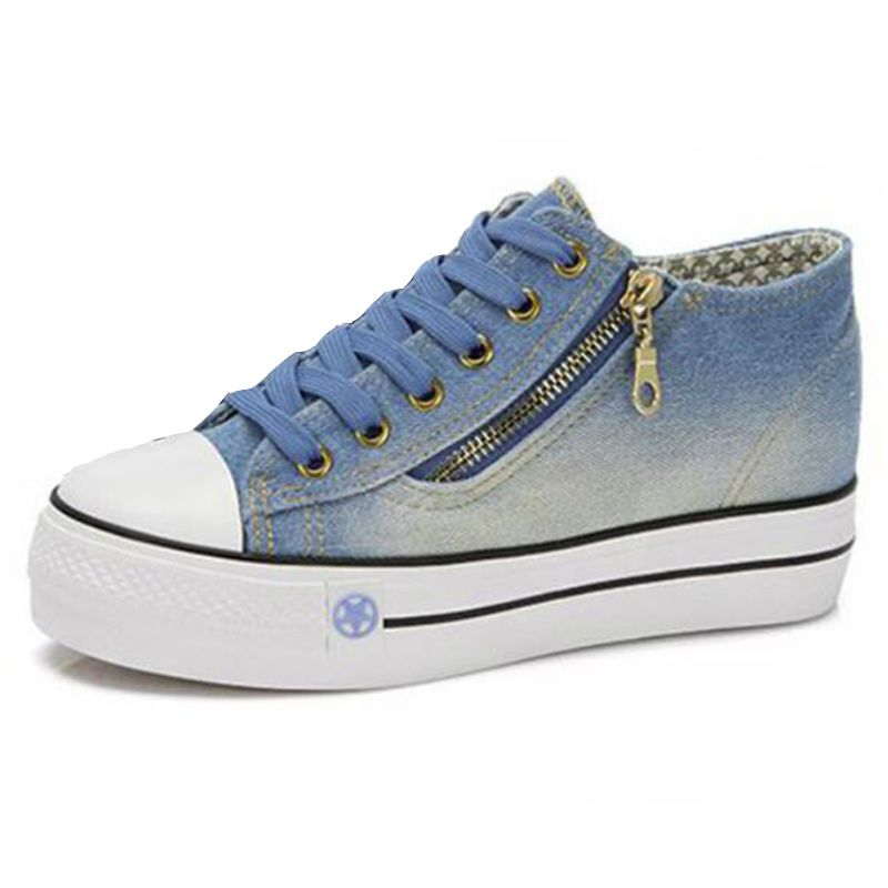 Shoes For Women Canvas Platform Creepers Loafers Outdoor Casual Blue
