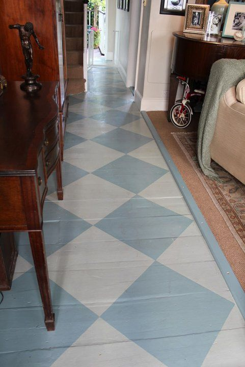 Hall Floor Painted In Oval Room Blue And Blue Gray Floor Paint In A Beautiful Diamond Pattern Oval Room Blue Grey Flooring Flooring
