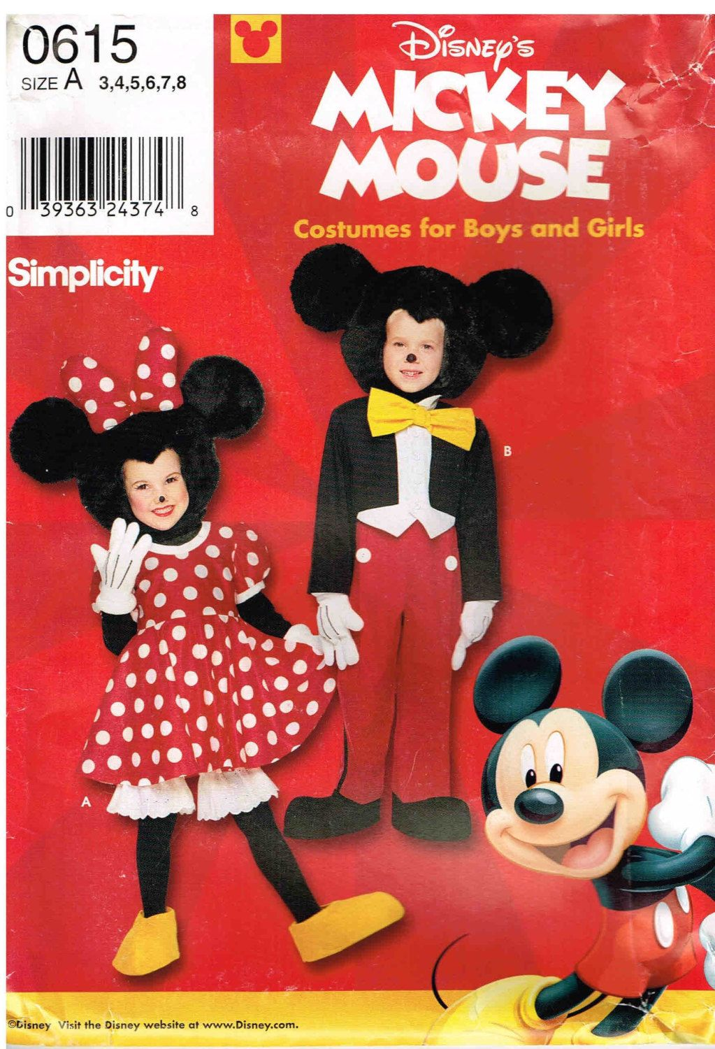 Disney Child Mickey Minnie Mouse Sewing Pattern Halloween Costume ...