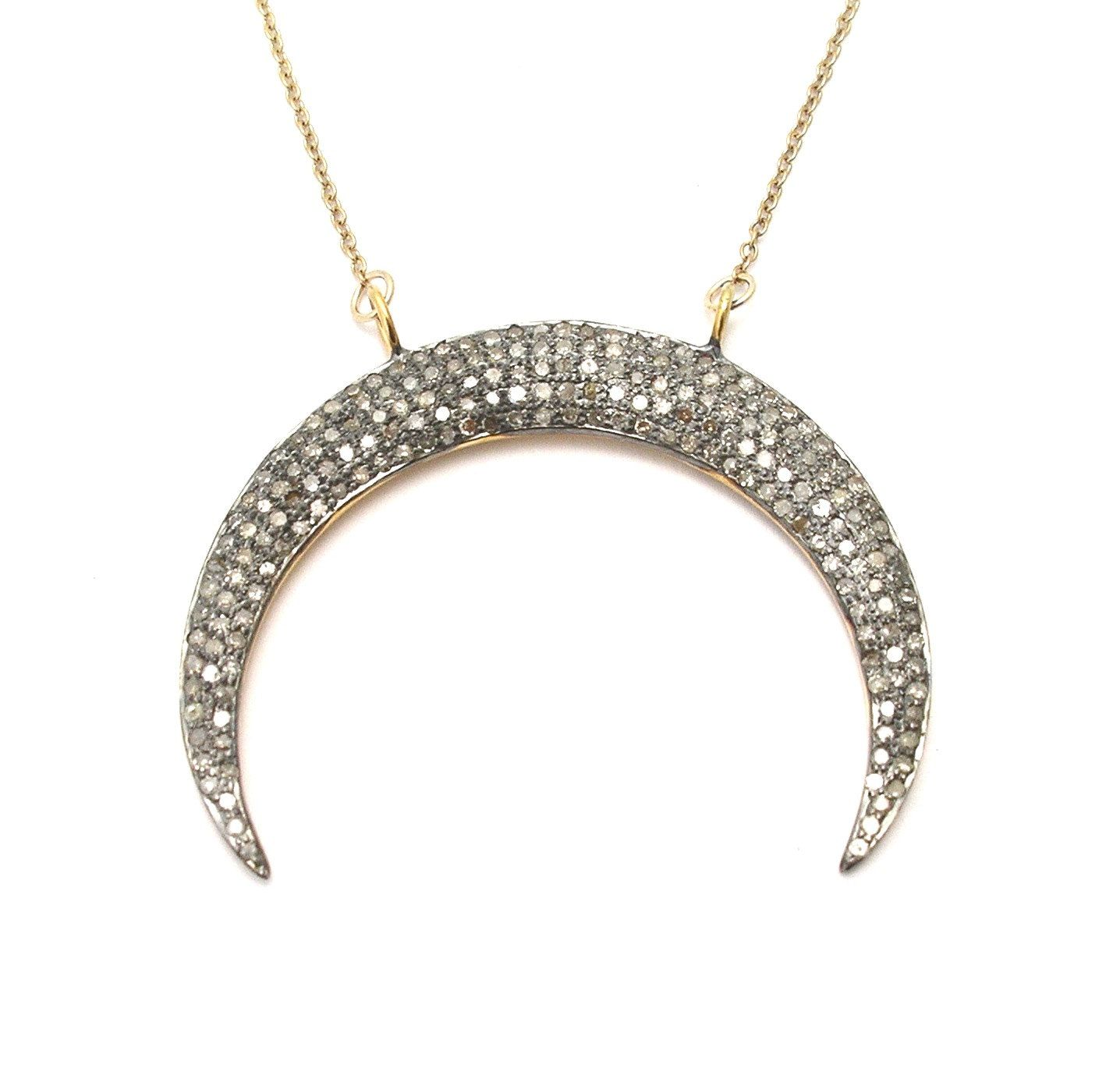 Double Horn Diamond Crescent Necklace - Large