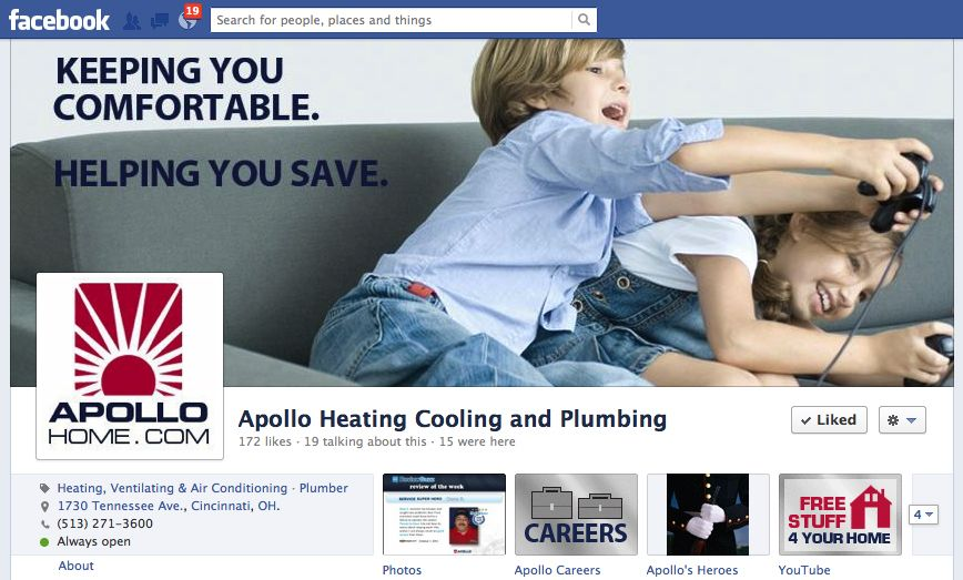 Facebook Homepage For Apollo Heating And Air Conditioning