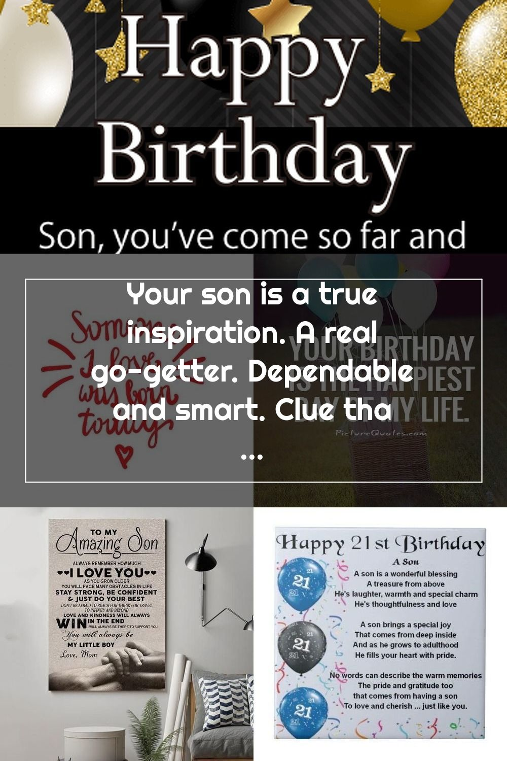 Gold White Balloons Happy Birthday Card For Son Your Son Is A True Ins Birthday Cards For Son Happy Birthday Cards Son Birthday Quotes