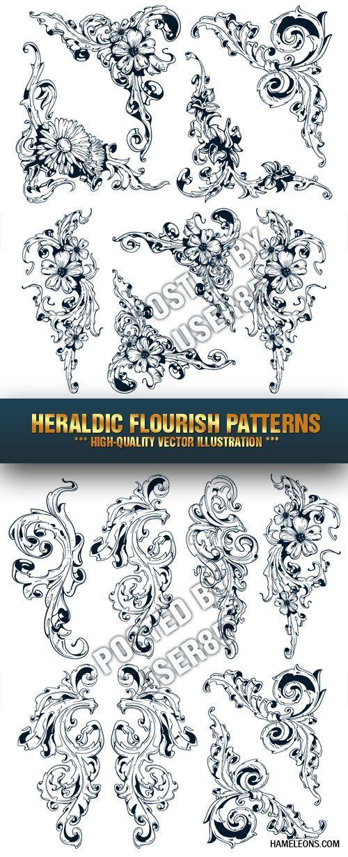Цветочные завитки и уголки в векторе   Floral vector elements 3