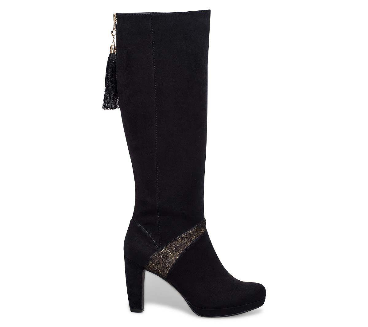 C M Bottines femme à pompoms Noir - Chaussures Bottine Femme