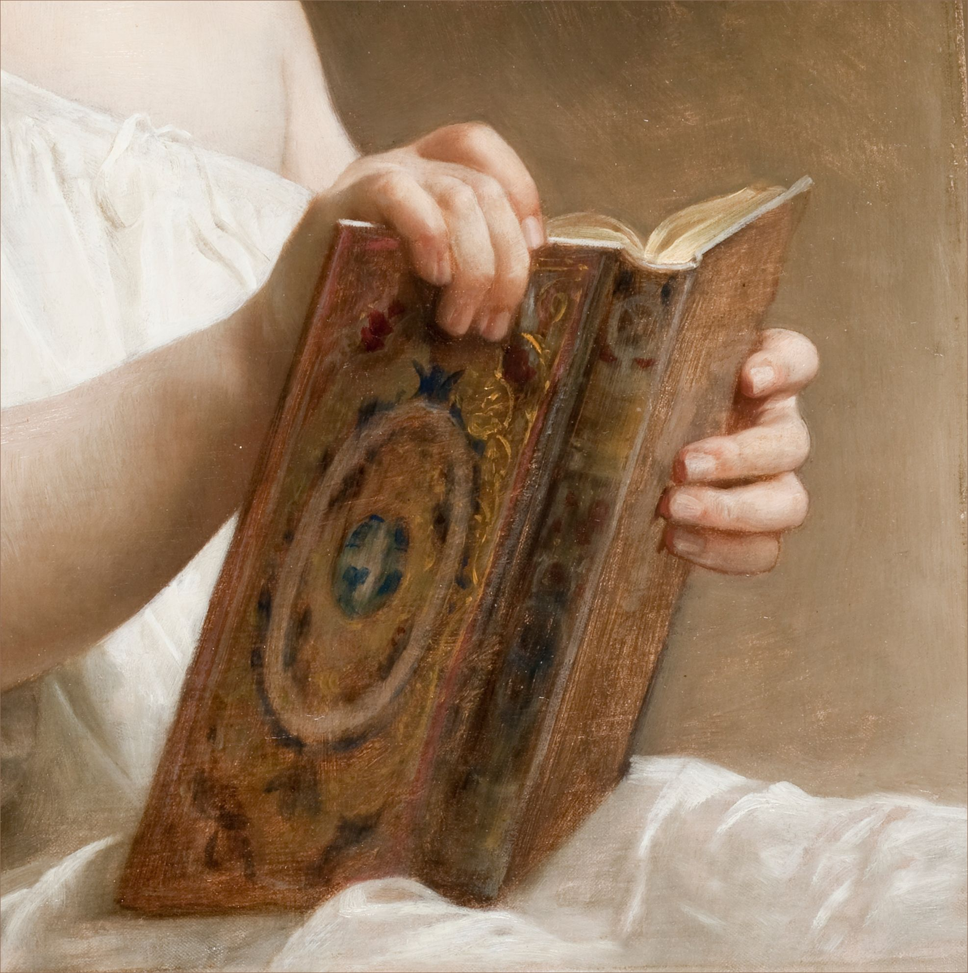 William-Adolphe Bouguereau - The story book, 1877 - France. W.A.Bouguereau was a member of the Pre-Raphaelite Brotherwood.