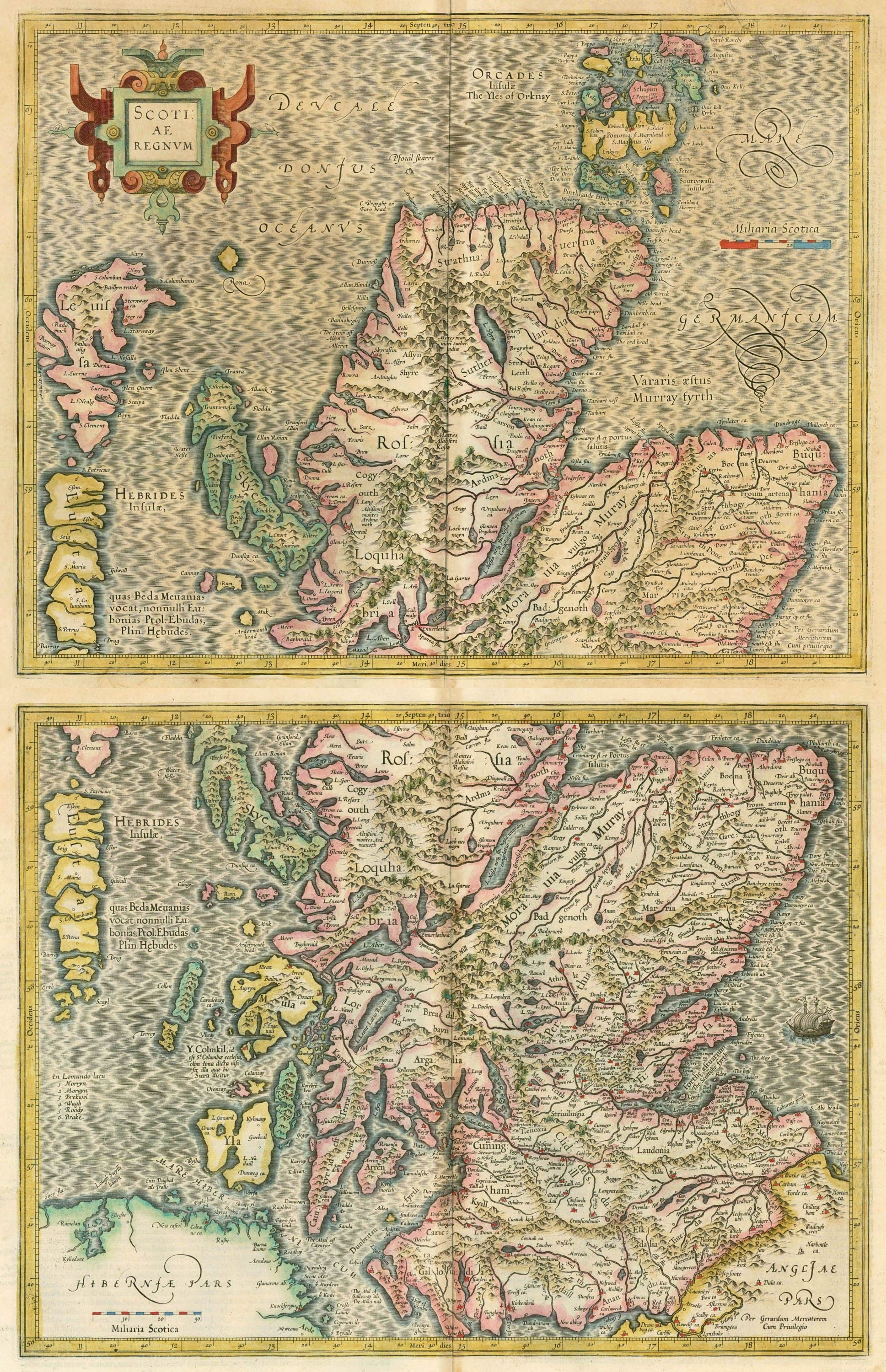 Two antique maps of Scotland (North + South) by Mercator G