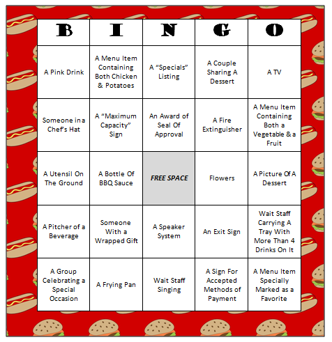 Restaurant Bingo Free Printable Game Crafts For Kids Pinterest