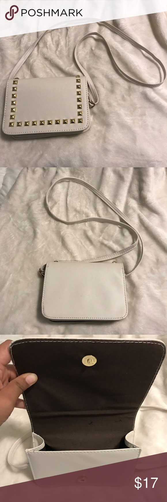 Crossbody Purse • White • Small • Flap • Style: Glamorous  • Embellished: Studded • Adjustable Strap Bags Crossbody Bags #myposhpicks