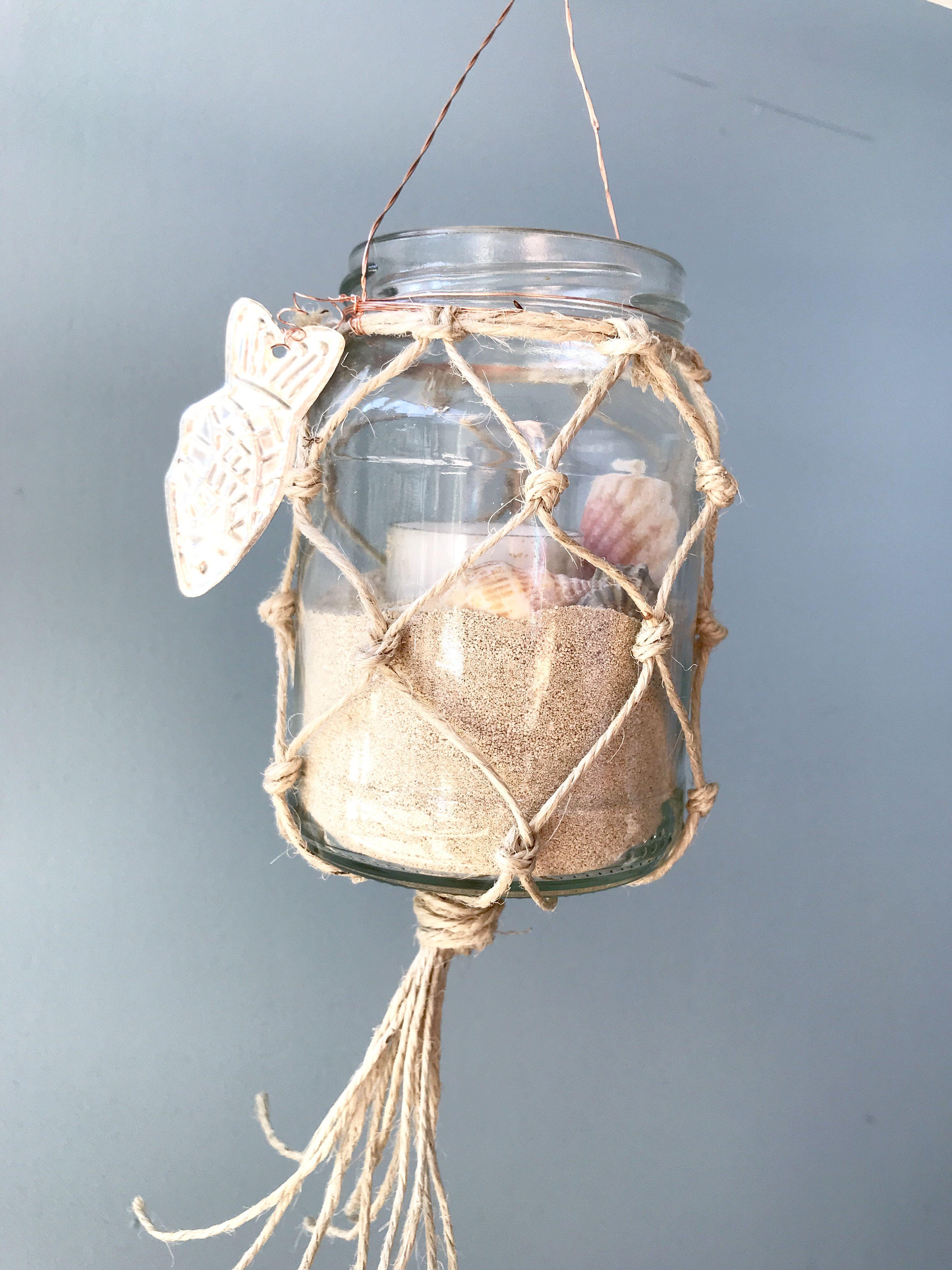 Diy Makramee Sommerdeko Weckglas Mit Fischernetz Als Windlicht Oder Vase Chalet8 Sommerdeko Sommer Dekoration Glasvasen Dekorieren