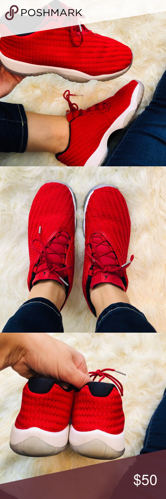 a50ffd3167b Jordan Future Low - Red Jordan Futures in Red White Great condition Size  6  Youth  6 Men s  7.5 Women s Note  I wear an 8 in women s and these fit  perfectly ...