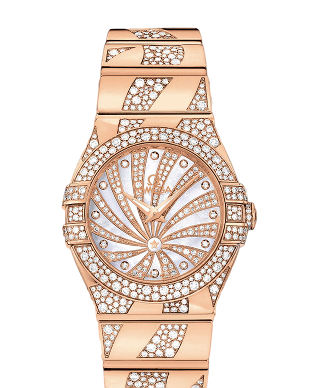 Omega Constellation Small Women's Watch, Model Number 123.55.24.60.55.011 features Quartz Movement. Made from 18K Rose Gold This Watch  has a Diamond Pave dial, it's 18K Rose Gold & Diamonds bracelet is adjustable from 7.5 in (19.05 cm) $39,858.00