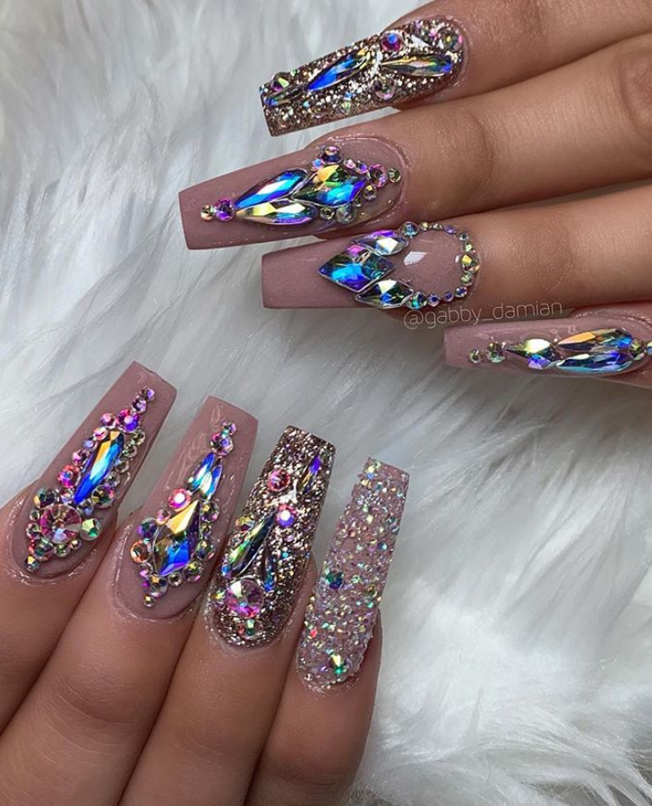 Pin By Tinaya Franklin On Grabber Shiny Nails Designs Cute Acrylic Nails Long Acrylic Nails