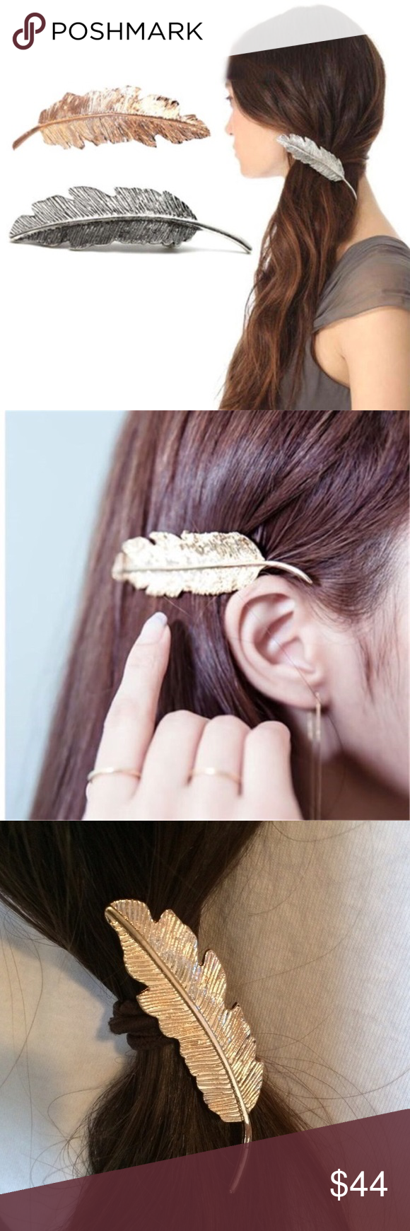 setof gold silver feather hair pins barrettes boutique my posh