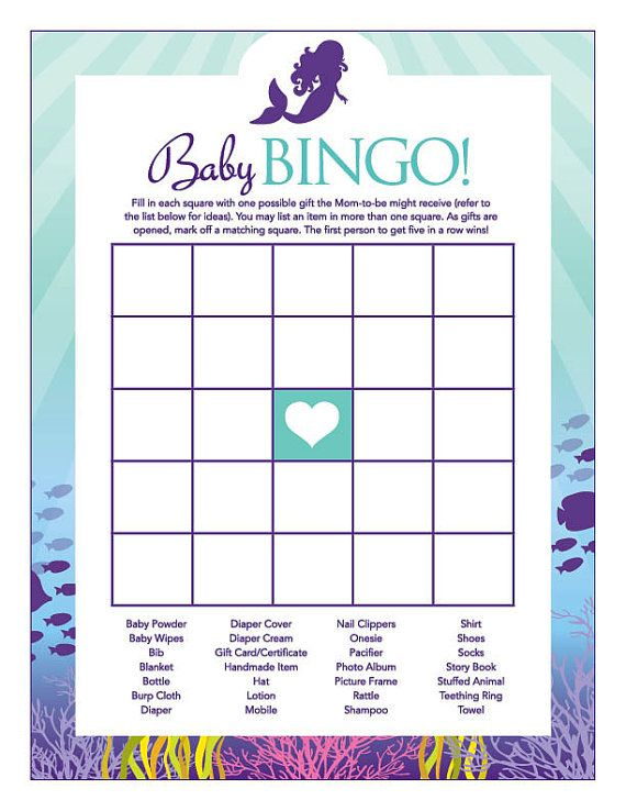 Instant Download Little Mermaid Baby Shower Games Pack Purple