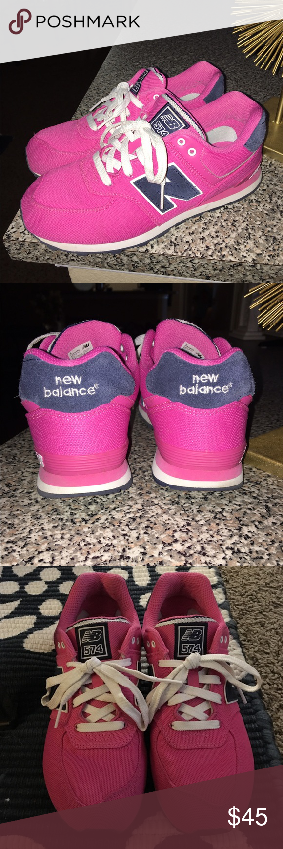 Pink new balances 574 *REDUCED SHIPPING FOR 1 HR* Excellent condition!! Looks like brand new! Worn a few times size 7.5 women's pink and navy blue New Balance Shoes Sneakers