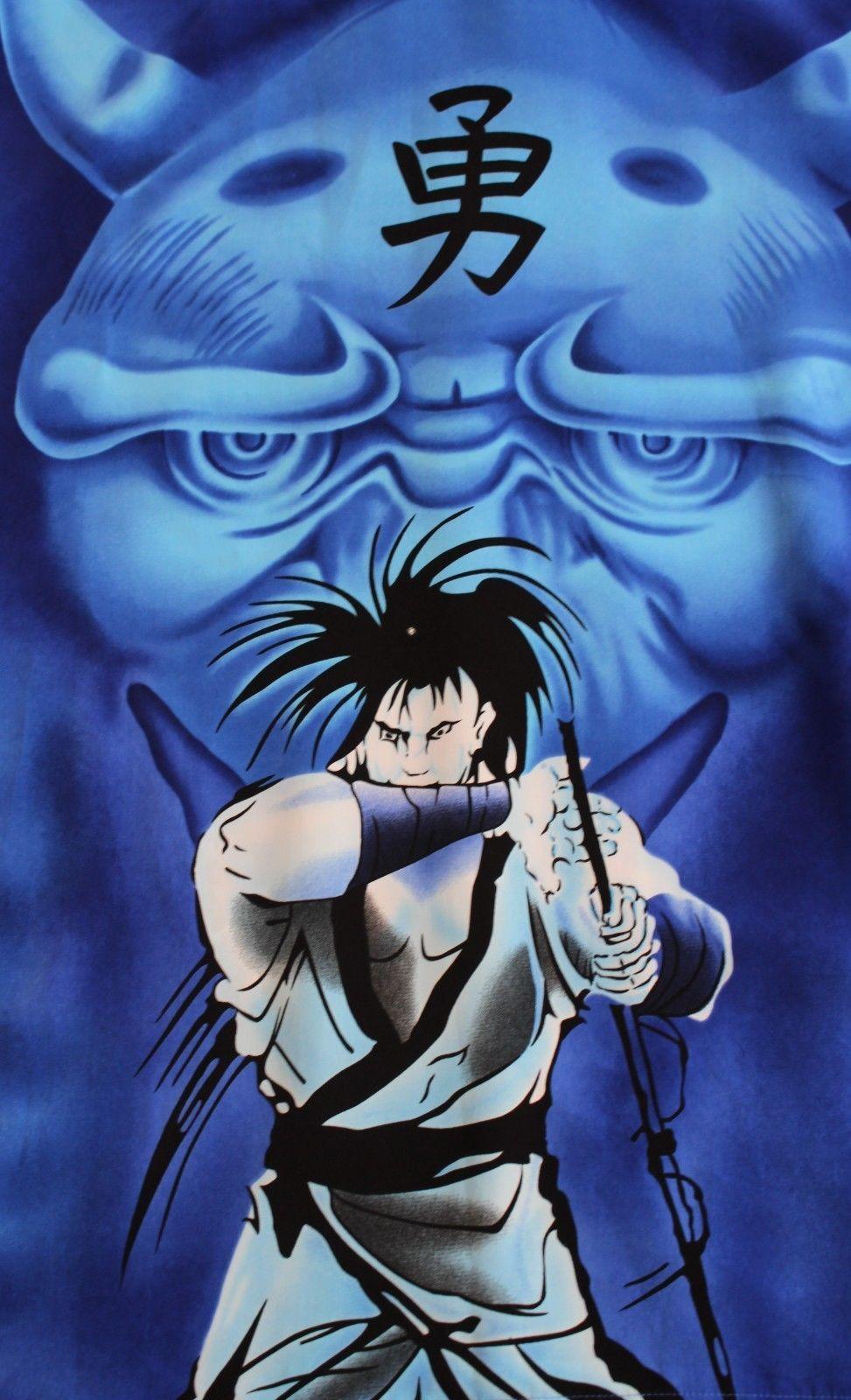 Details about vtg 90s asian blue anime dragon samurai