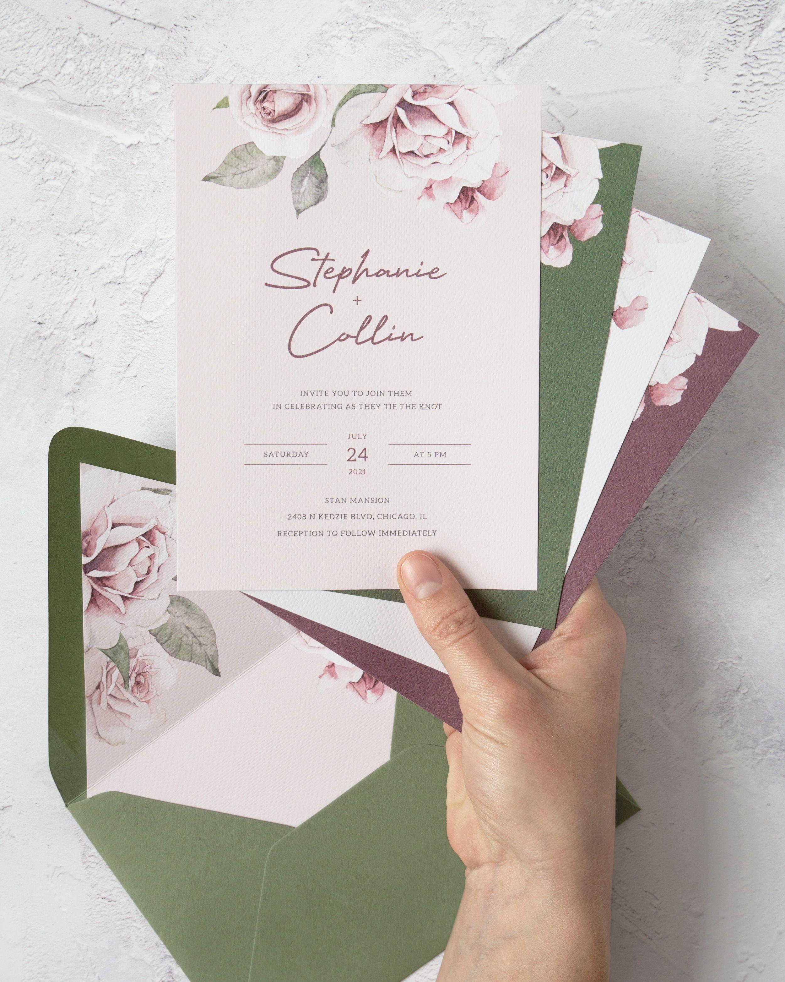 Dusty Rose Wedding Invitation Template Printable Pink Floral Etsy In 2020 Floral Wedding Invitation Card Fun Wedding Invitations Rose Wedding Invitations