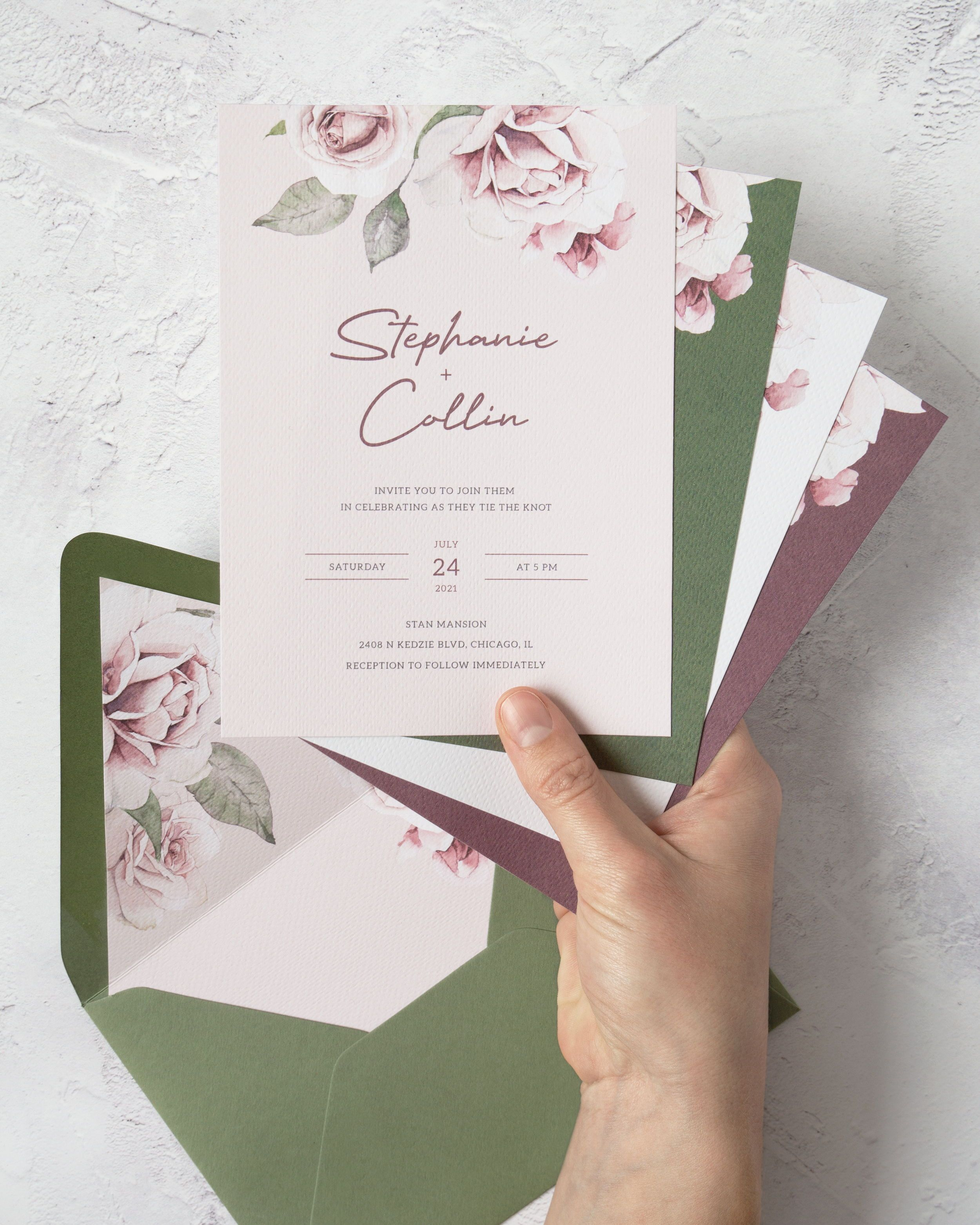 Rose Wedding Invitation Template Printable Dusty Rose Floral