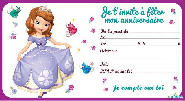 Invitation princesse sofia 123 cartes anniversaire - Jeux de princesse sofia gratuit ...