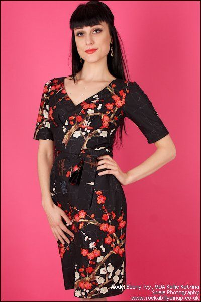 Black Oriental Cherry Blossom Betty P Fitted Dress by Limb