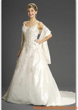Robe de mariage taffetas avec châle