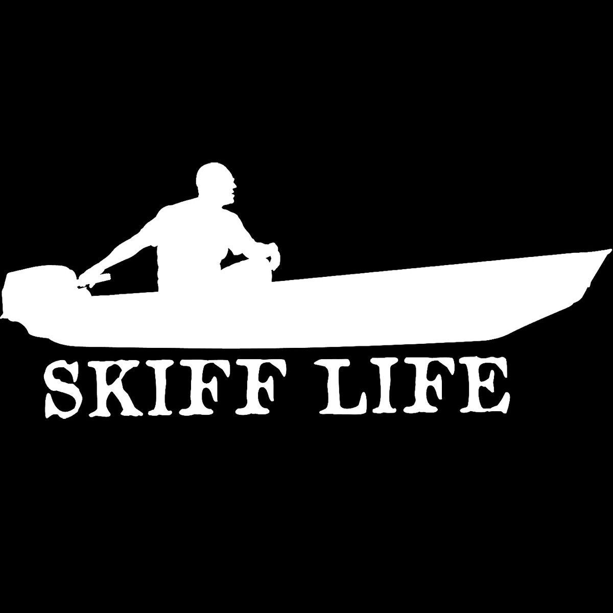 Skiff life jon boat car truck window decal stickers boat for Fishing boat decals