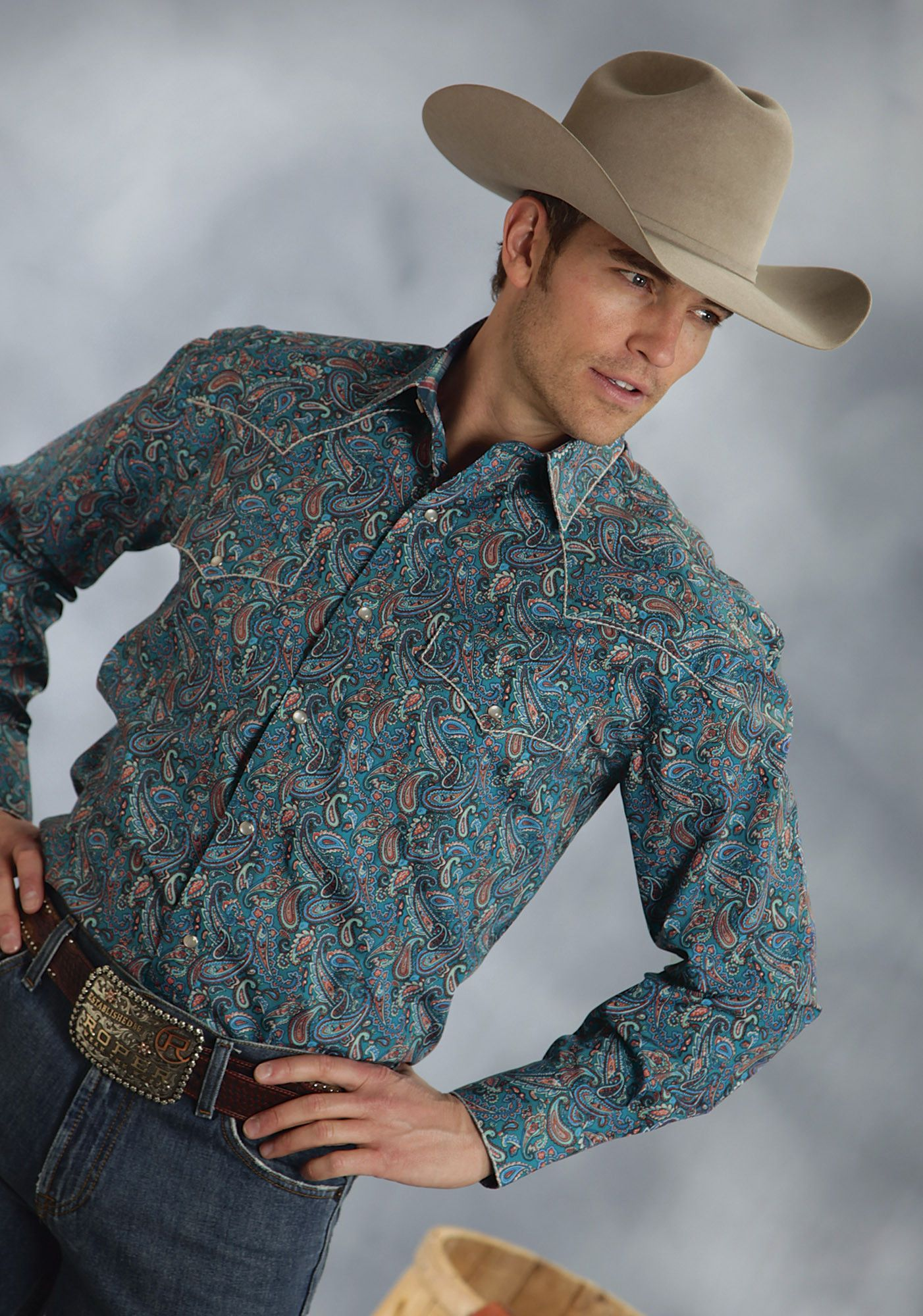 Roper Mens 9350 Flame Paisley Amarillo Sea Coral Group Long Sleeve Shirt Snap Closure - 2 Pocket