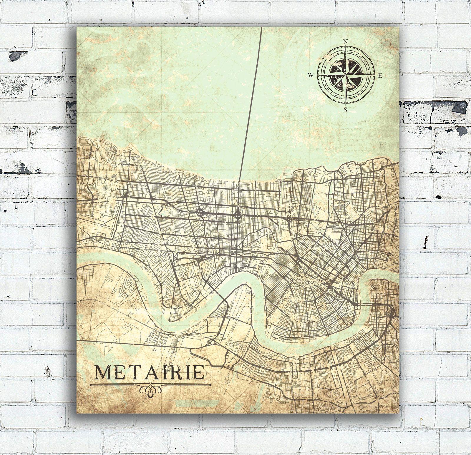 METAIRIE LA Canvas Print Louisiana City Vintage map Teal Aqua Mint