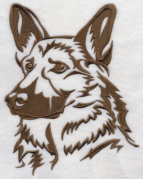 Gsd German Shepherd Dog Silhouette Embroidered Fabric Quilt Square
