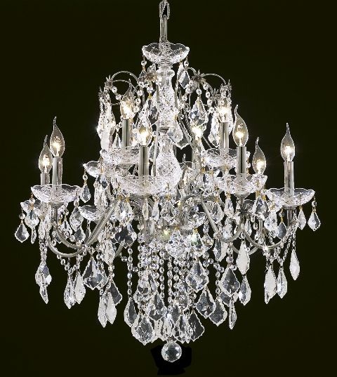 "Swarovski Crystal Dollhouse Chandelier: Victorian Design 12-Light 28"" Chrome Or Gold Metal"