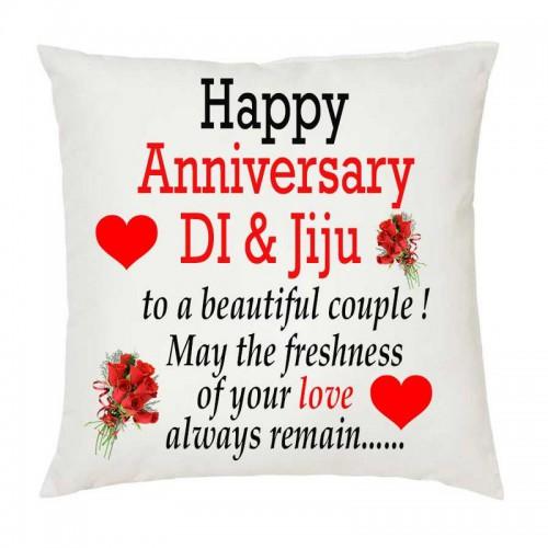 Juvixbuy Happy Anniversary Di Jiju Printed White Square Shaped Cushions Wit Happy Anniversary Mom Dad Happy Anniversary Quotes Anniversary Wishes For Sister