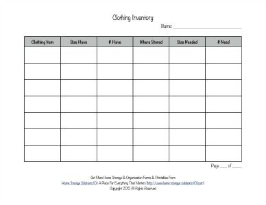 printable clothing inventory form household notebook