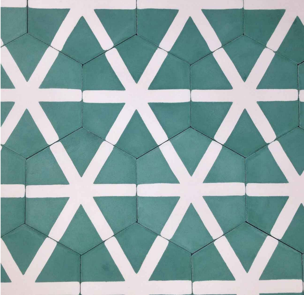 Green + white ceramic tiles | Handmade in Morocco | Popham Designs ...