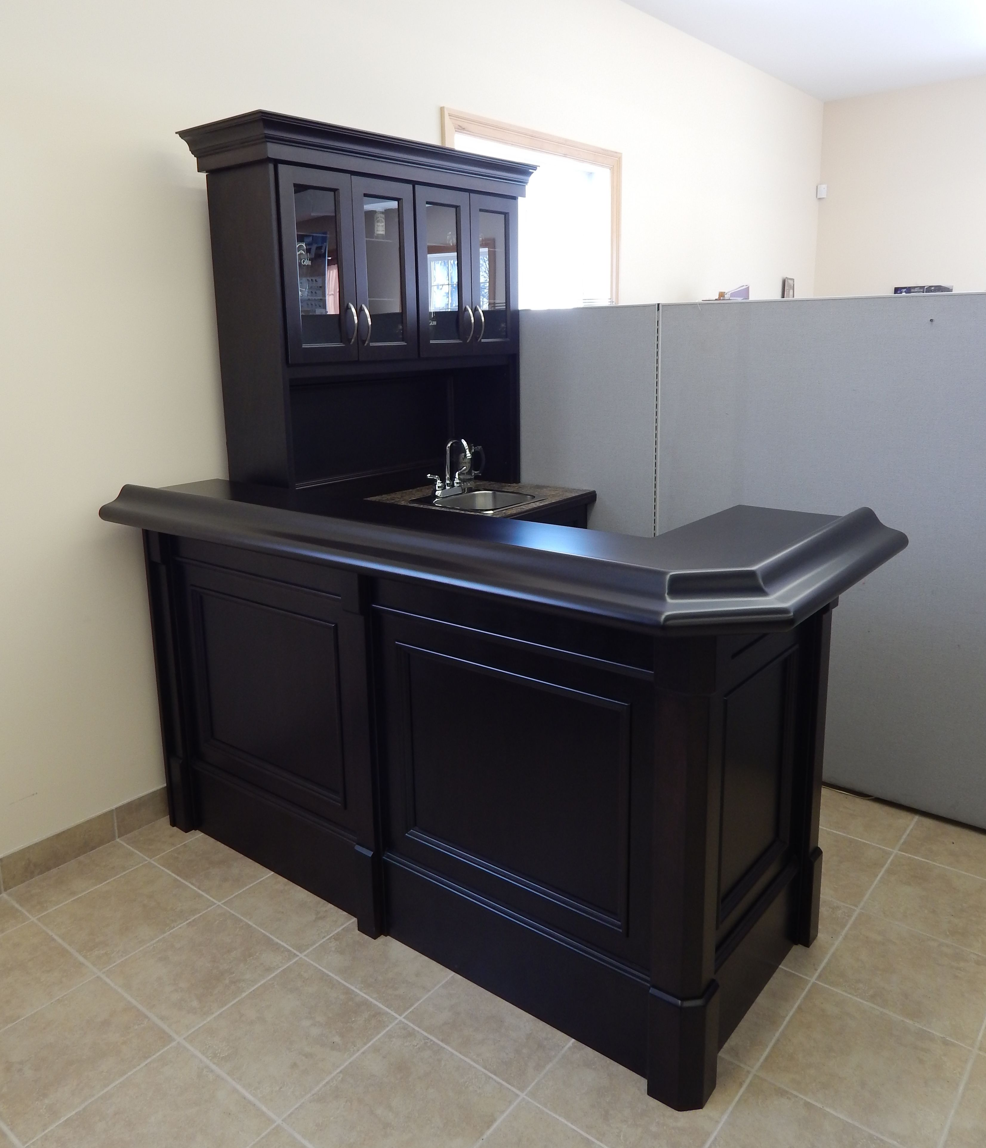 Custom Basement Bar With Sink And Upper Unit