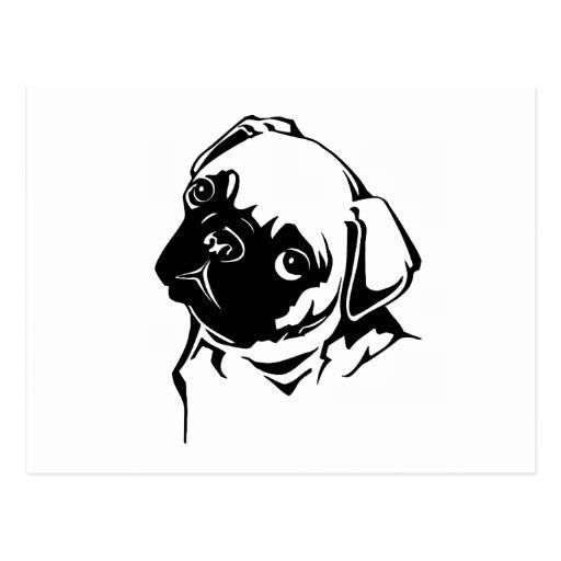 Postal Dibujo blanco negro lindo del perro del barro  Cricut