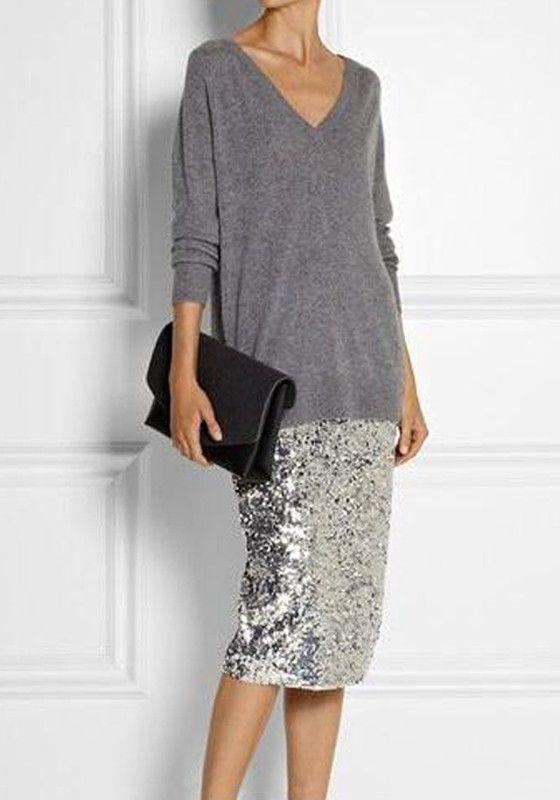 e622f97325e8 Silver Plain Sequin High Waisted Slim Fashion Midi Skirt | online ...
