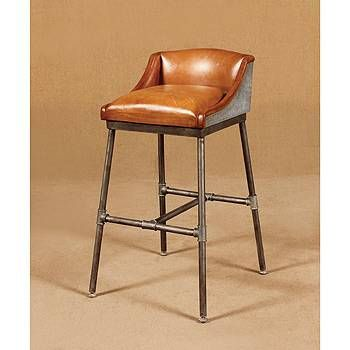 Industrial Vintage Road House Tan Bar Stool Tan Leather Covered Seat 67cm Seat Height Designer Bar Stools Brown Bar Stools Bar Stools