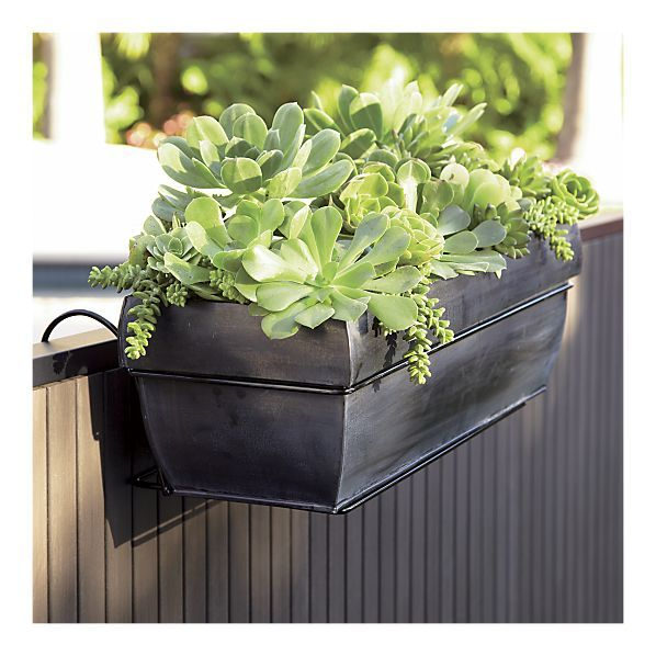 Love these affordable zinc planters - only $19.95! I can hook them over my  railing - Rail Planters - Deck Railing Planters Solutions Projects To
