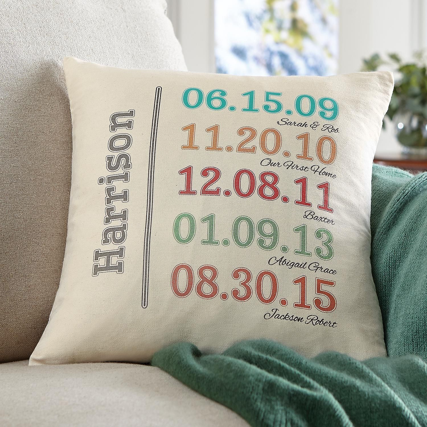 Fun Family History Throw Pillow | Embroidery Ideas ...
