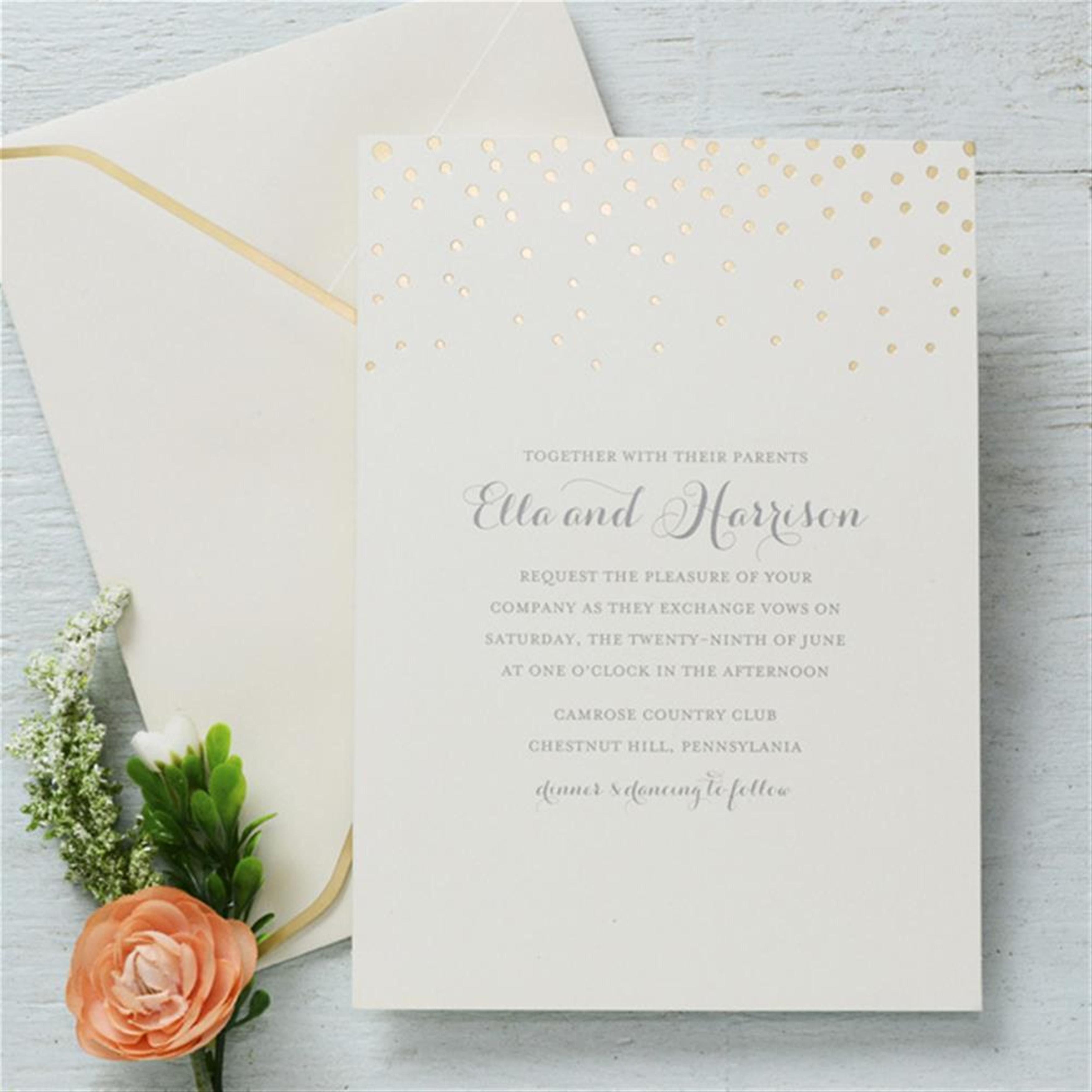 Gold Foil Dots Wedding Invitation Kit