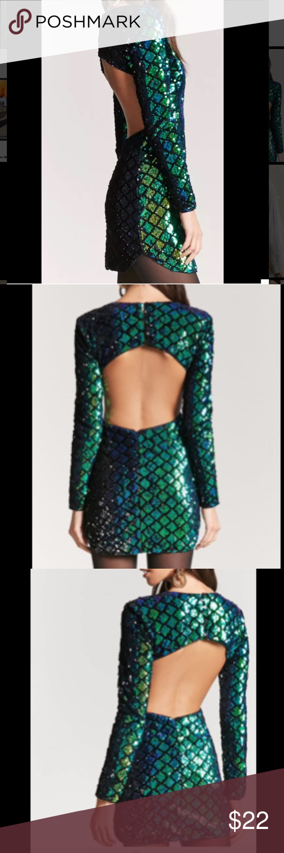 New look long sleeve bodycon dress in multi coloured sequin