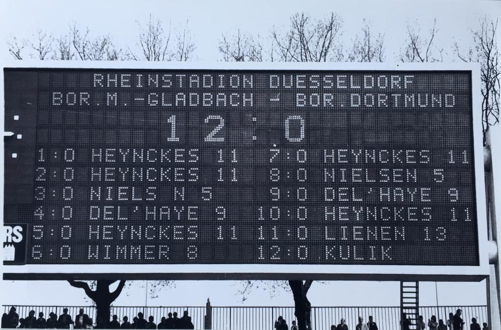 "Borussia Mönchengladbach 12–0 Borussia Dortmund  (April 29, 1978): ""Still the largest margin of victory and biggest win in any Bundesliga game."""