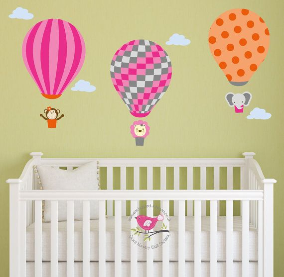 Hot air balloon nursery decoration and jungle animal wall stickers girls bedroom pink grey and orange elephant lion monkey
